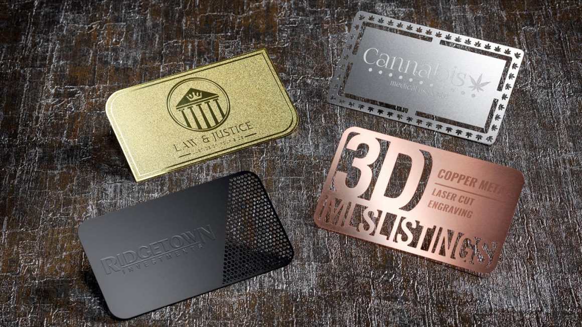 blank metal business cards